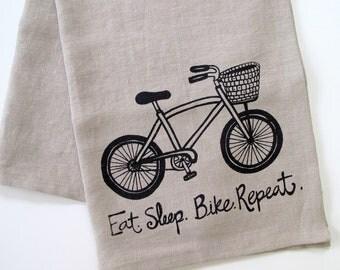 Linen Tea Towel - Eat.Sleep.Bike. Repeat - Choose your fabric and ink color
