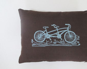Pillow Cover - Cushion Cover - Tandem Bicycle - 12 x 16 inches by Sweetnature Designs - Choose your fabric and ink color - Accent Pillow