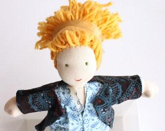 Waldorf doll girl 12 inch, Steiner sewn doll, Fall decor gift, Doll dress, Waldorf Doll clothes, Children Friendly, organic Waldorf doll