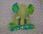 Velma-Soft Green Fleece Elephant with Bold Swirls and white chenille tusks and matching washclothes- Ready to Ship