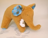 Shaggs- Plush Brown Woolly Mammoth with a brown and blue argyle tummy and soft chenille tusks