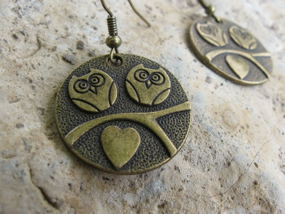 Antique bronze love owls dangle metal earrings - The bronze nature jewelry collection by AnnyMay