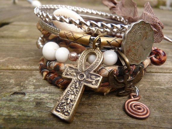 Isis' Touch,gypsy bangle stack,urban gypsy,wrapped bracelets,creams,browns,prairie wedding
