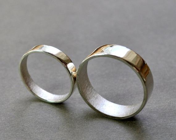 flat wedding rings wedding band set 6mm 37mm modern minimalist - Modern Wedding Rings