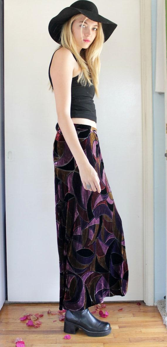 Vintage Long Velvet Colorful Maxi Skirt