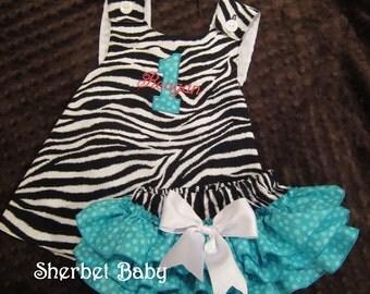 Pinafore Dress and Sassy Pants Ruffled Diaper Cover Set Zebra Teal Polka Dots Monogram Option
