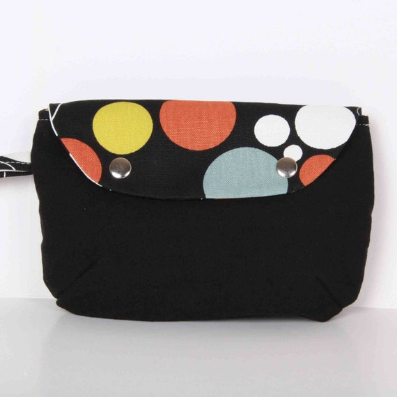 Clutch , Pouch ,Black ... canvas with Cream lining
