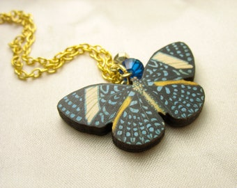 Blue butterfly necklace ... vintage butterfly print wood pendant ... fluttery and free