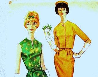 1960s Dress Pattern Misses size 16 Bust 36 UNCUT Womens Sheath Dress Pattern Short Jacket Pattern Wiggle Dress Pattern Vintage Patterns 60s