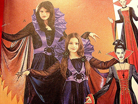 Adult Women Witch Vampire Gown Costume Pattern with bell sleeves Misses Adult size Sm Med Lg XLg UNCUT