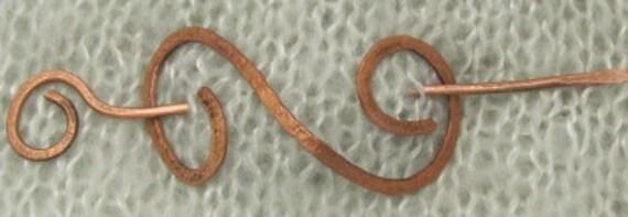 Copper Double Spiral Celtic Barrette Hair Pin -  Shawl Closure Pin.
