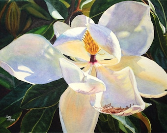 Magnolia Watercolor Painting Print by Cathy Hillegas, 11x14, watercolor floral, watercolor flowers, white blue yellow purple green art,