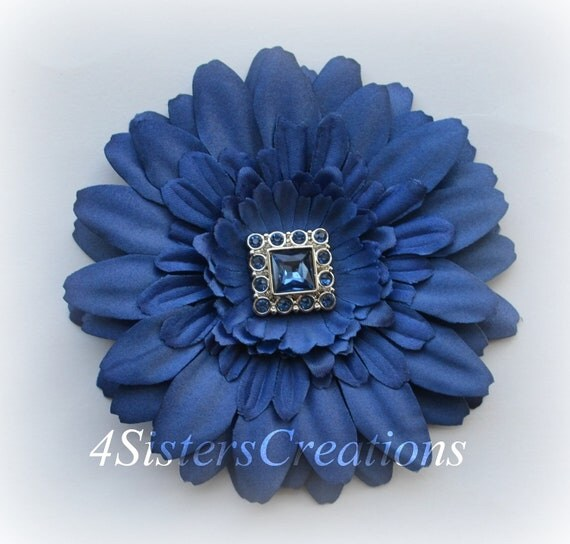 Navy Gerbera Daisy Flower Clip with Navy Square Button Rhinestone Center Wedding, Flowergirl, Bridesmaid