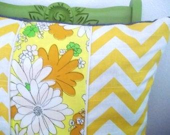 Decorative Throw Pillow Cover, Yellow Chevron, Vintage Floral 18 x 18