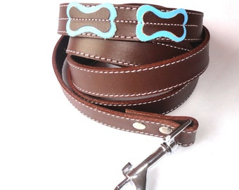 Cool Leather leash lead Brown with light blue bones