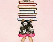Read A Book - 8x10 ORIGINAL watercolor painting by Tracy Lizotte