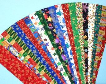 Christmas Xmas Metallic Jelly Roll Quilt Strip Pack Cotton Quilting Fabric Die Cut No Dups (sku JR120-CHXM)