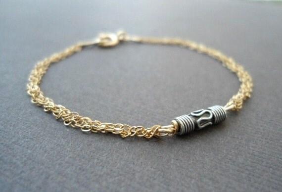 Bar Bracelet, Gold  Bar Bracelet, Sterling Silver Bar Bracelet, Two Tone Bracelet Multi Chain Bracelet, Skinny Bracelet,  Silver Bracelet,