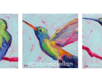 Hummingbird Trio - Bird Art - Giclee Print - 19x13