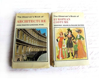 Observer's Pocket Books of Architecture and European Costume 1975, Small Tiny Cute Books on Costume and Architecture, Little Design Books