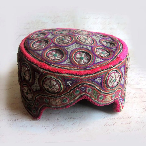 Vintage Central Asian Embroidered Pillbox Hat