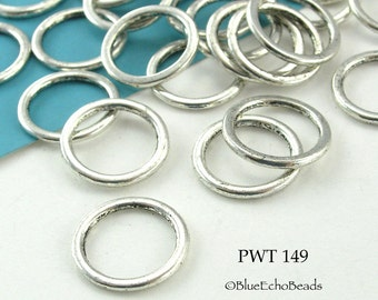 15mm Pewter Ring Connector Large Closed Jumpring (PWT 149) 24 pcs BlueEchoBeads