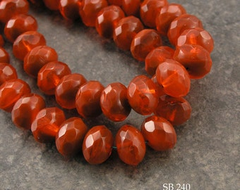 Faceted Firepolished Rondelle Czech Glass Beads 9x6mm Rust Red  (SB 240) 12 pcs