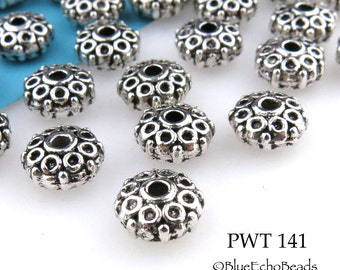 Pewter Spacer Beads Antique Silver 8mm (PWT 141) 20 pcs BlueEchoBeads