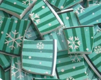 Mosaic  tiles cut from Christmas Plates for Mosaics S18
