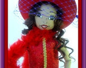 Red hat lady doll OOAK  18inches tall