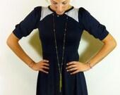 ON SALE-Dark navy blue soft jersey dress// Striped panels