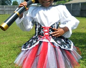 Handmade girls Pirate Costume / Halloween / Dress Up / Pageant / Birthday / Sizes 3-6