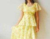 FALL SALE - Beautiful Slyvia Ann ruffled maxi dress, 1950s Pale Yellow Long dress, Floral print