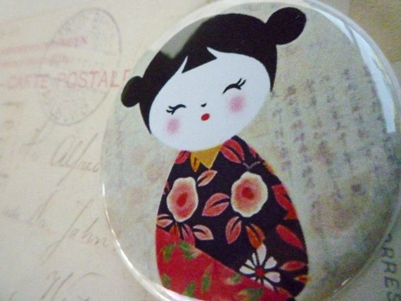 Pocket Mirror - Kokeshi Doll with Red dress
