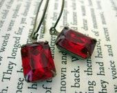 Scarlet Earrings . Vintage ruby glass jewels on antiqued brass balloon hooks