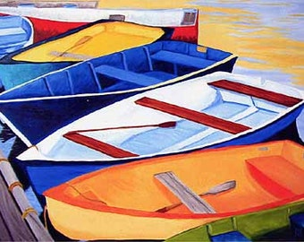 "11x14"" Matted Set of 2 Rowboat Prints, Cape Cod, Massachusetts Dinghies"