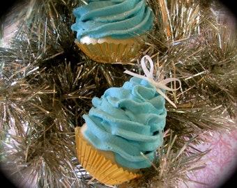 Fake Cupcake Ornaments Retro Inspired Turquoise Mini Cupcakes Set 6 Fab Holiday Gift/ Stocking Stuffer Idea Original 12 Legs Concept