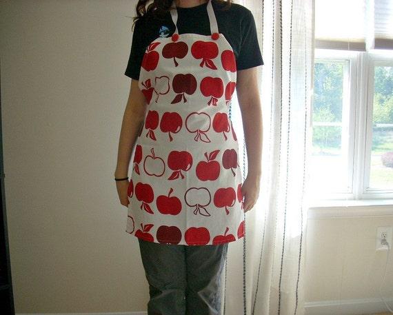 SALE Dish Towel Full Apron Apple Red