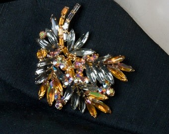 "Alive Caviness Rhinestone Brooch - Big 3"" Amber & Smoke Designer Pin - 50s/60s"