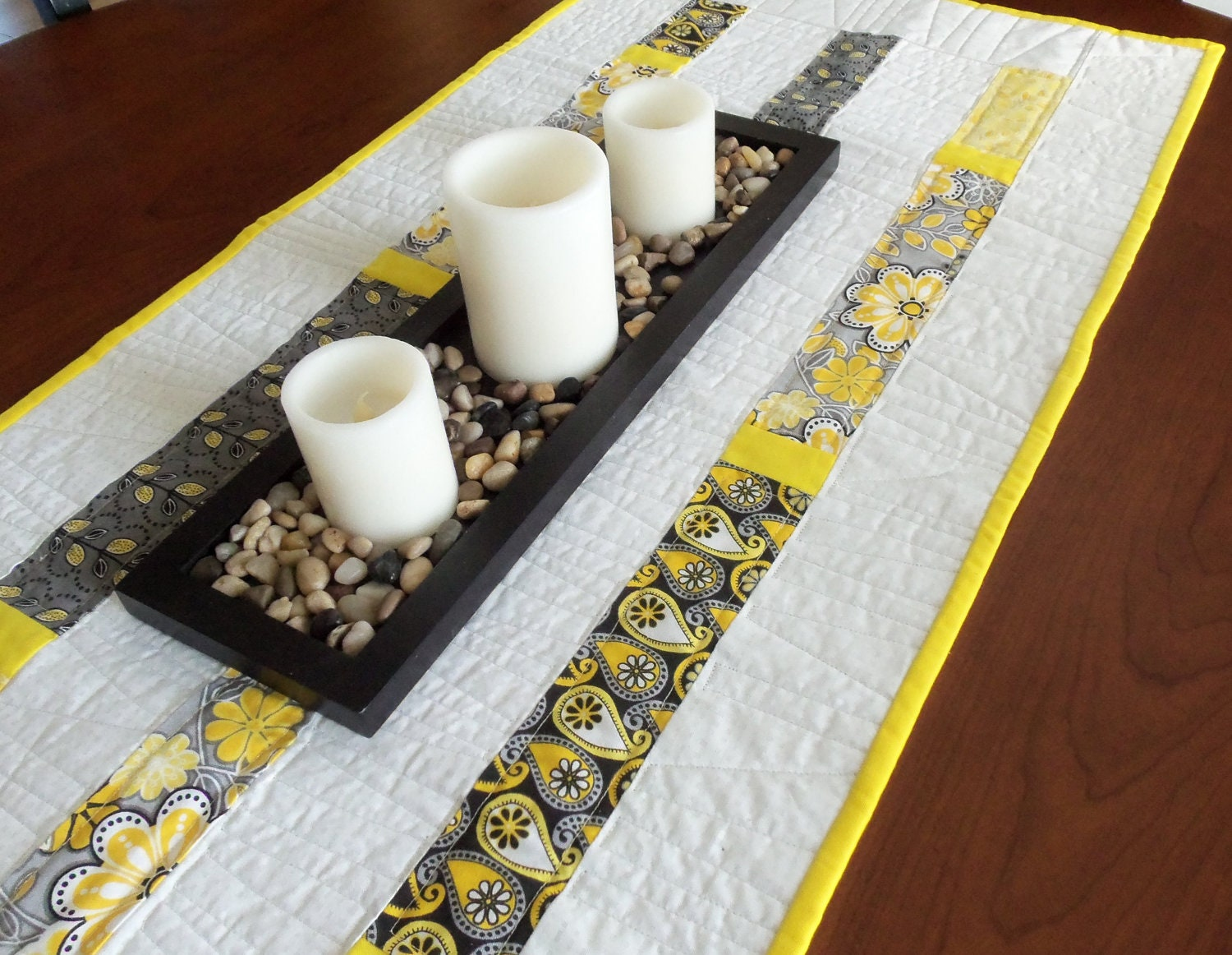 Quilted yellow gray and black modern table runner for Modern table runner