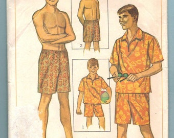 Simplicity 6562 Shirt Swim Shorts Vintage Sewing Pattern Boys Size 12 Swim Suit Bathing Suit Cut Complete