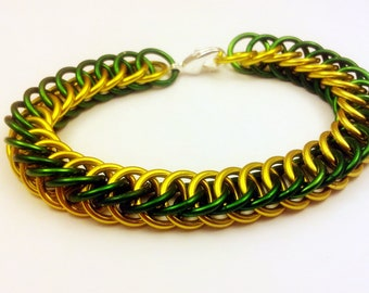 Green and Yellow Anodized Aluminum Half Persian 4in1 Bracelet