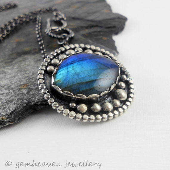 Sterling silver and Labradorite cabochon Necklace with Hallmark - From the Waves -