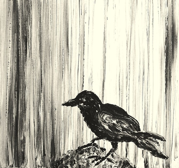 """The Raven-Original Black and White Acrylic Painting PRINT 16""""x20"""""""