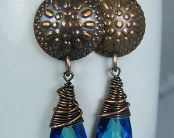 Copper Wire Wrapped Bermuda Blue Swarovski Crystals with Grecian Copper Shields