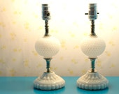 pair of milk glass table lamps