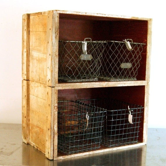 Vintage Fruit Wood Crate Bookcase Shelf Industrial Chic White
