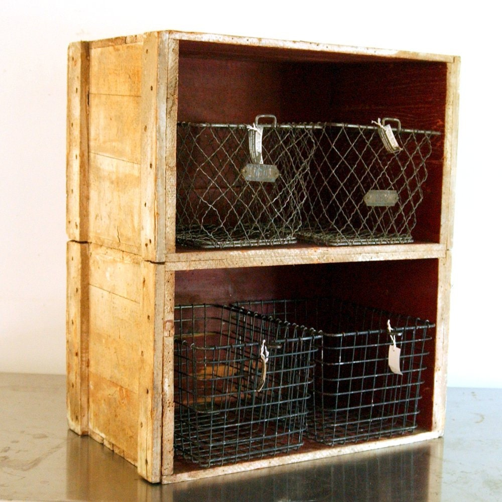 Vintage fruit wood crate bookcase shelf by countryanthropology for Wooden fruit crates