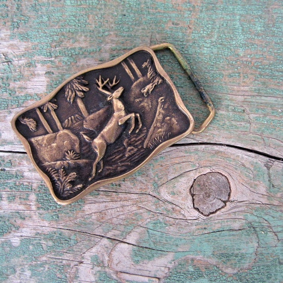 Brass Belt Buckle / 1970s / Leaping Stag