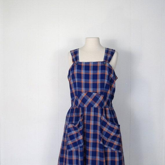 Vintage 1940s Dress / Blue Pinafore Dress / Plaid Dress / 40s Sundress / Large L